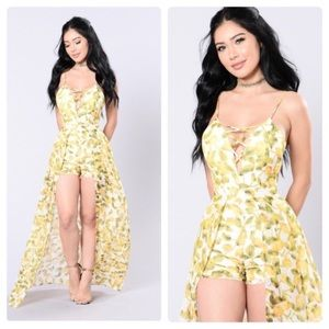 New Fashion Nova Lemon Print Romper Dress